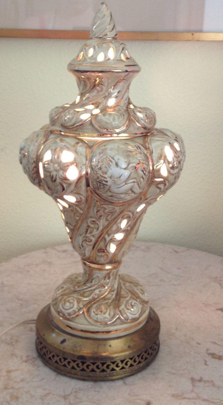 Vintage Capodimonte Italian Antique White And Gold Boudoir