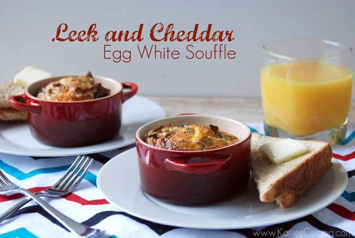 Leek and Cheddar Egg White Souffle ~ Katie's Cucina