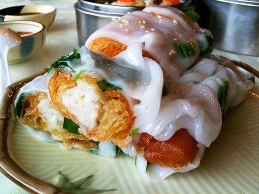 """crispy shrimp rice noodles"""" (savory crullers filled w/ shrimp cake ..."""