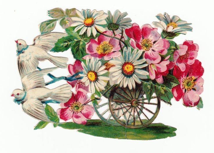 Oblaten Glanzbild  scrap die cut chromo / Blumenwagen weiße Tauben de.picclick.com