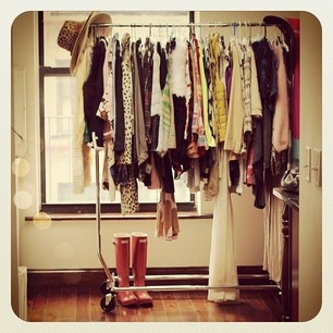 I love love love the idea of displaying your clothes on racks!! So doing this when I have my own place!