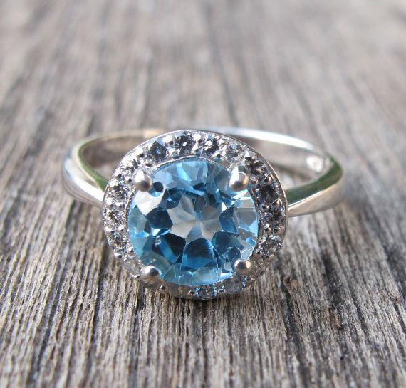 gorgeous blue topaz halo ring engagement ring promise