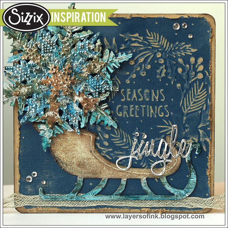 Sizzix Inspiration | Snowflake and Sleigh Card by Anna-Karin, made with dies and texture fades by Tim Holtz.