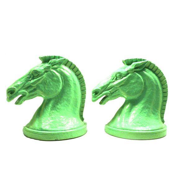 Horse Bookends Equestrian Horse Head Mint Green Home