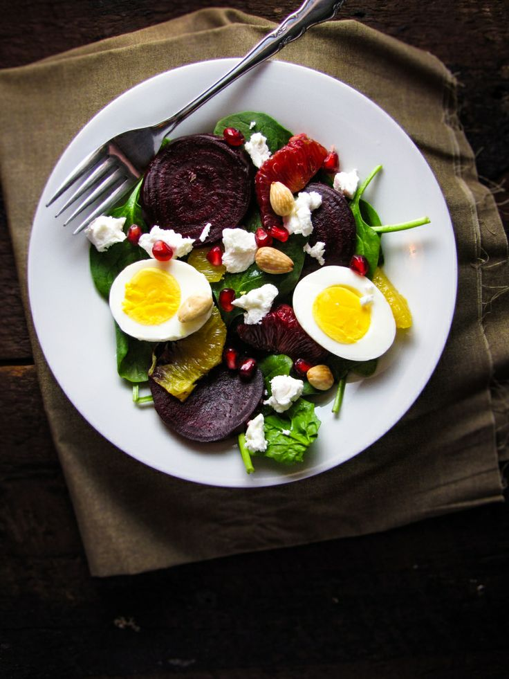 Roasted Beet Salad With Goat Cheese, Eggs, Pomegranate, And Marcona ...
