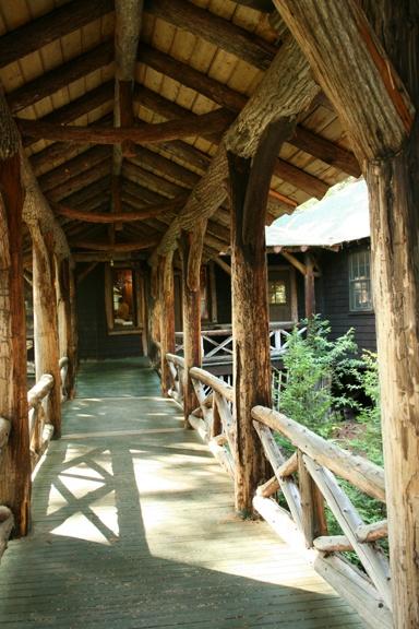 Rustic covered walkways Lake Placid Lodge Pinterest