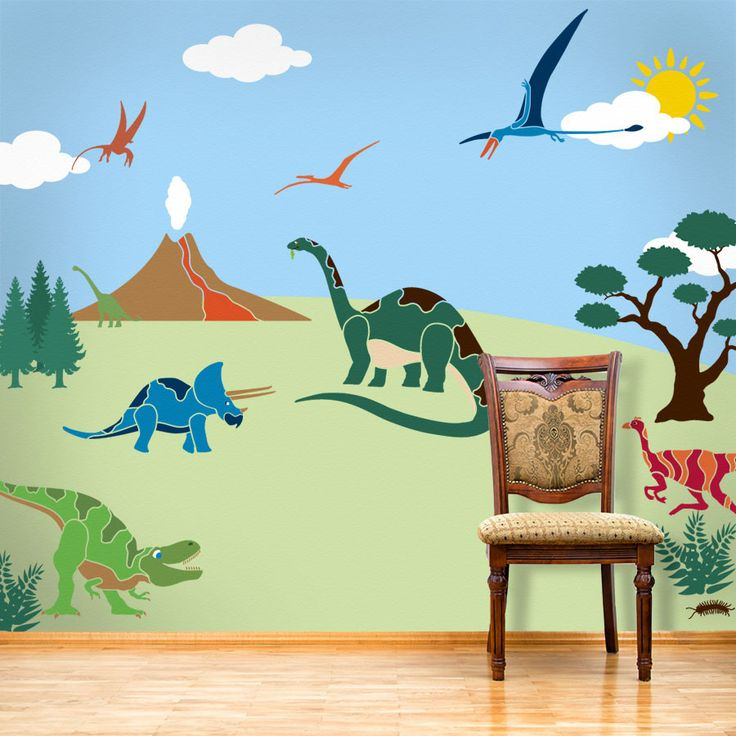 dinosaur wall mural stencil kit for boy s room