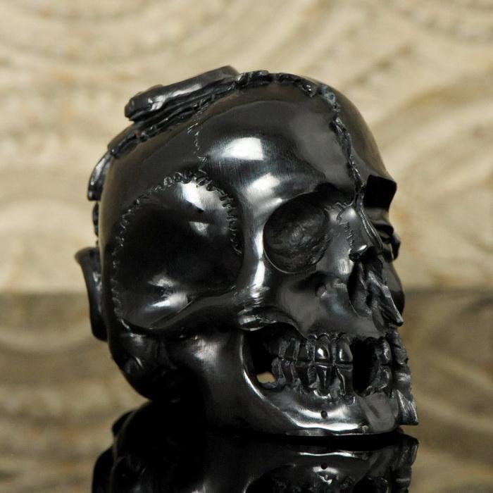 HUMAN SKULL SNAKE Lizard Horn NETSUKE Carving Memento Mori Sculpture PAPERWEIGHT