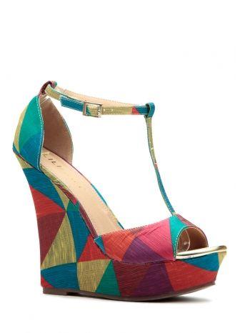 CICI HOT Women Shoes   Geometric Rainbow Ellie T Strap Wedges   Just