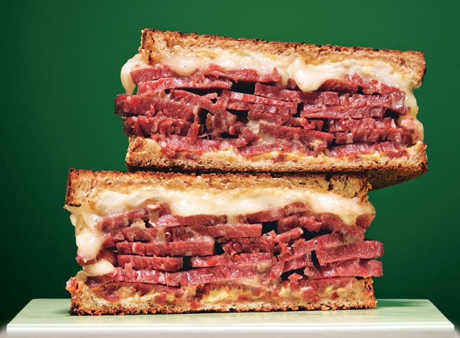 St. Patricks Day meal - corned beef and fontina sandwich.