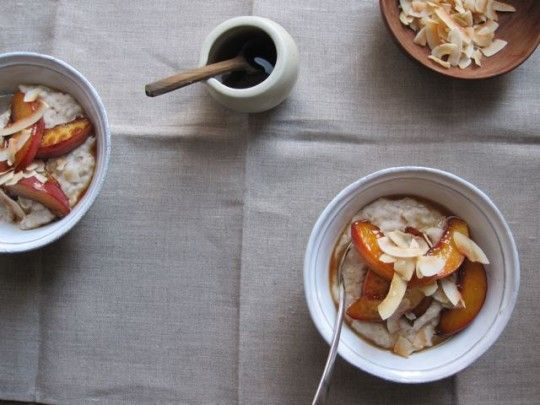 Coconut breakfast pudding with almond milk, maple, and necatrines. I'd ...