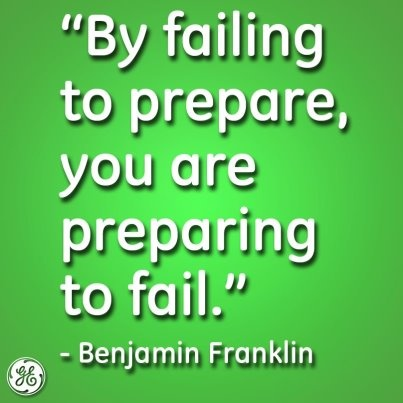 by failing to prepare you are preparing to fail essay Benjamin franklin was known for the following saying, by failing to prepare, you are preparing to fail it is true that if you do not set goals beforehand.
