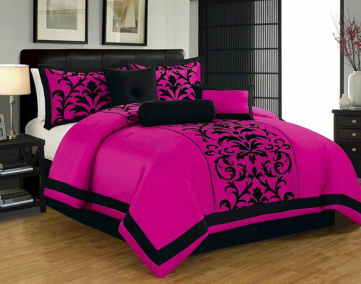 Collection damask print comforter set hot pink black accent king