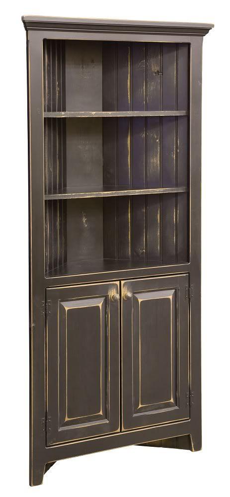 Amish corner cabinets kitchen bathroom storage solid wood for Black corner bathroom cabinet