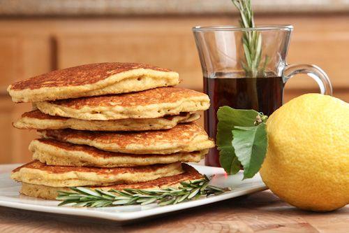 Quinoa Cornmeal Lemon Honey Pancakes with Rosemary infused Maple Syrup