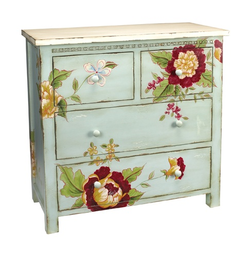 We love the heavy-headed peonies in our garden...they never last long enough, though...but now you can enjoy their beauty all year round with this wonderful cottage-style chest, hand-painted with blooms.