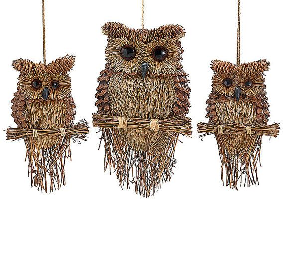 Twig pine cone sisal owl ornament wall hanging wreath