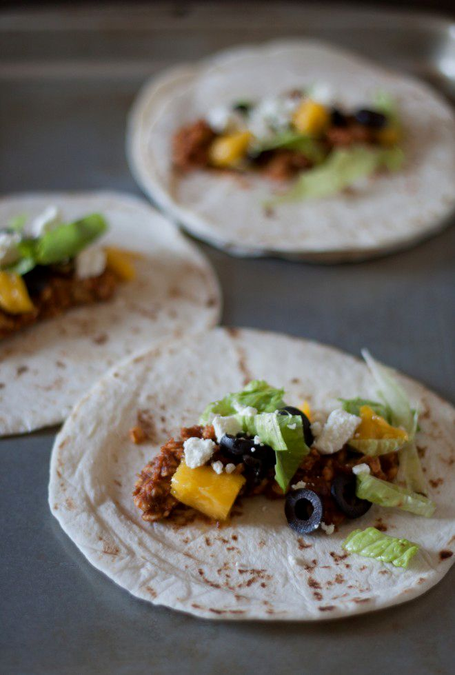 Vegetarian Mango Tempeh Tacos with Goat Cheese and Black Olives ...