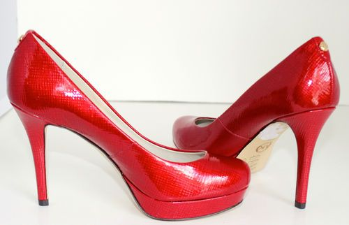 Michael Kors Womens Shoes 6.5 Red Ionna High Heels Pumps Patent