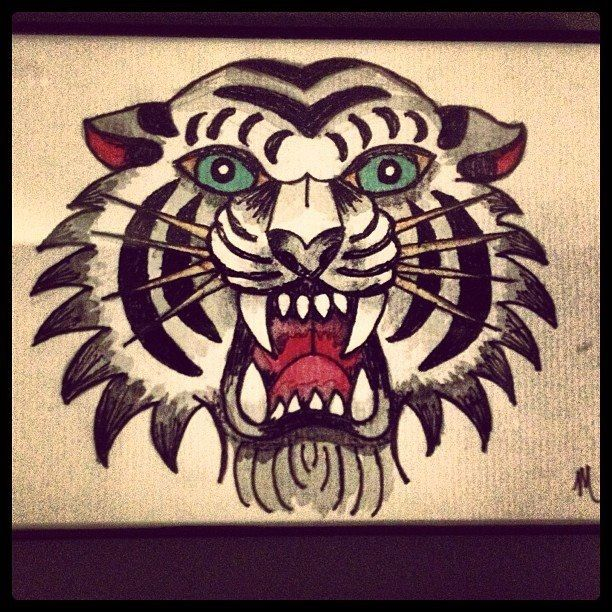 American Traditional Tiger Head Tattoo