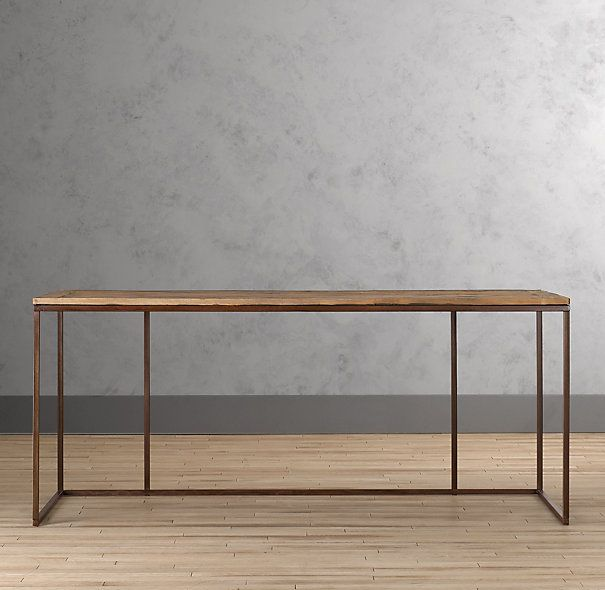 Reclaimed wood metal desk nest pinterest for Metal desk with wood top