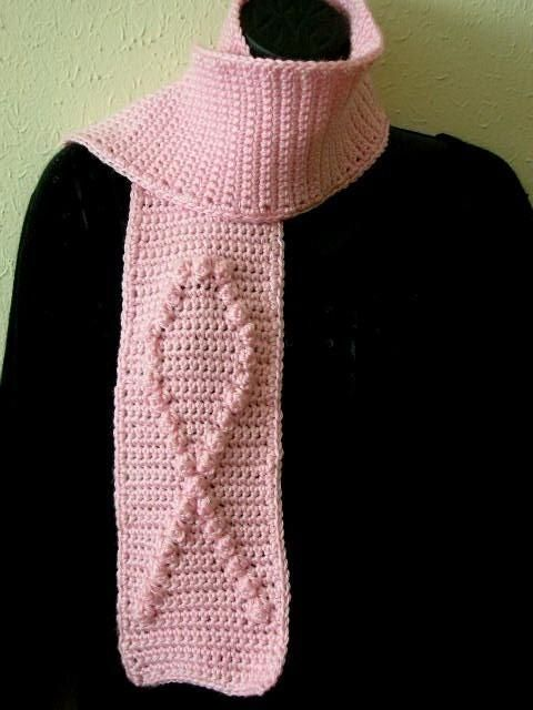 Free Crochet Pattern For Breast Cancer Awareness Scarf : Breast Cancer Awareness Scarf