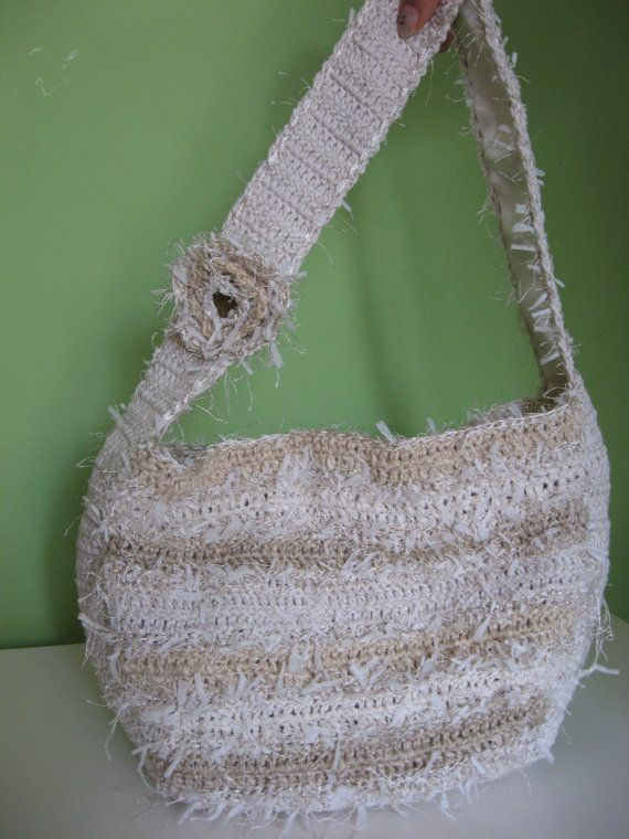 Crochet Fancy Bags : Handmade Crochet Beige Bag of Fancy Yarns by marullka24 on Etsy, $63 ...