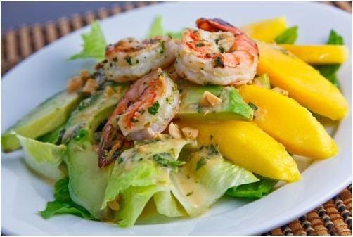 Mango, Avocado and Grilled Shrimp Salad with a Peanut Dressing | Reci ...
