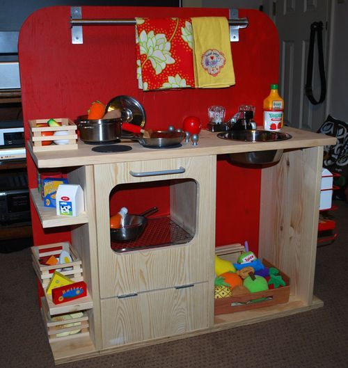 Diy play kitchen craft ideas pinterest for Play kitchen designs