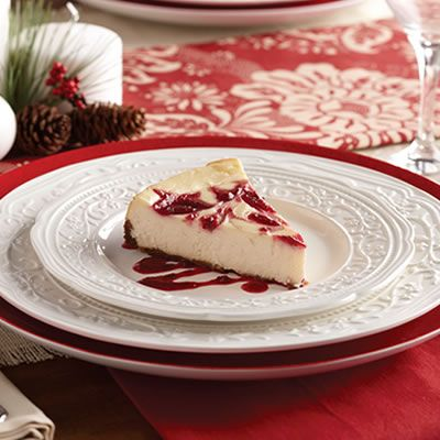 White Chocolate Cheesecake with raspberry swirl and Gingersnap Crust # ...