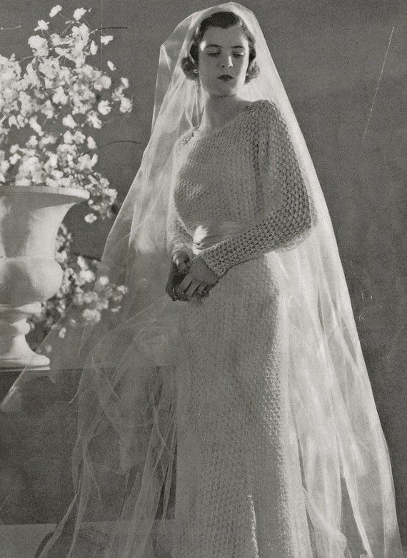 Knitting Pattern Wedding Dress : PDF of Minervas Marina Wedding Dress Vintage Knitting Pattern, c. 1934
