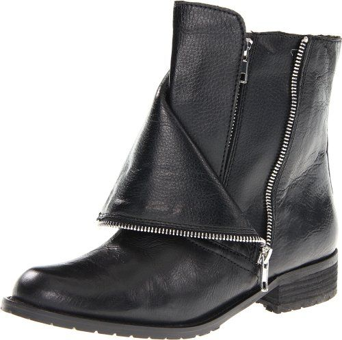 DV by Dolce Vita Women's Sera Motorcycle Boot,Black Leather,6.5 M US