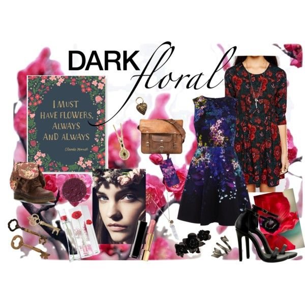 """Dark Floral Dress"" by everythingrosy on Polyvore"