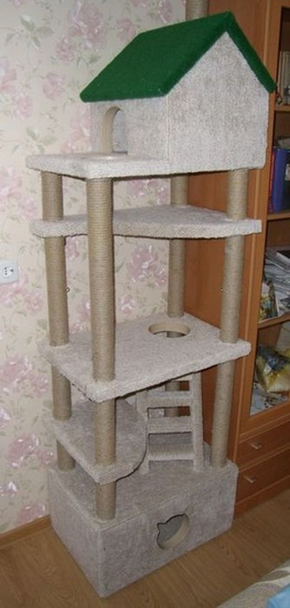 Diy cat tower meow monday caturday pinterest for Homemade cat tower