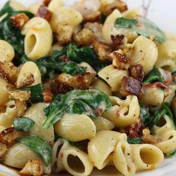 Pasta w/ Mascarpone, Chicken, Sun-Dried Tomatoes & Spinach