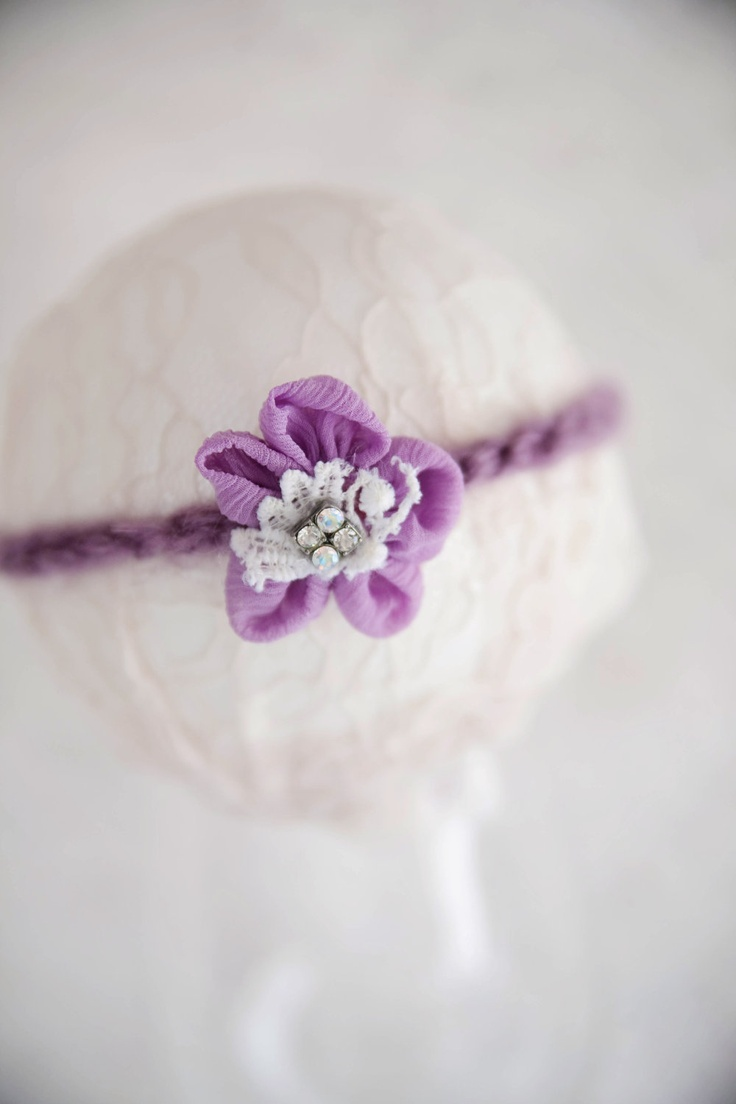 Purple flower and lace newborn headband 10 00 via etsy
