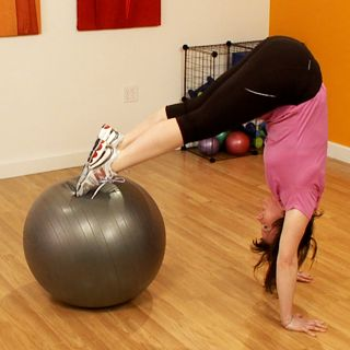 Tone Your Abs and Booty With Two Easy Moves...modified headstand?