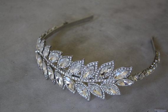 Reception - Greek Leaf Headband Swarovski crystal bridal  by simplychic93