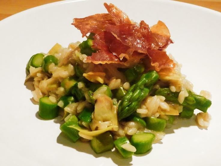 Artichoke and Asparagus Risotto with Crispy Prosciutto