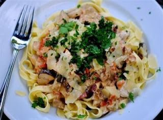 Fat of the Land: Fettucini with Porcini, Pancetta & Tomato Cream Sauce