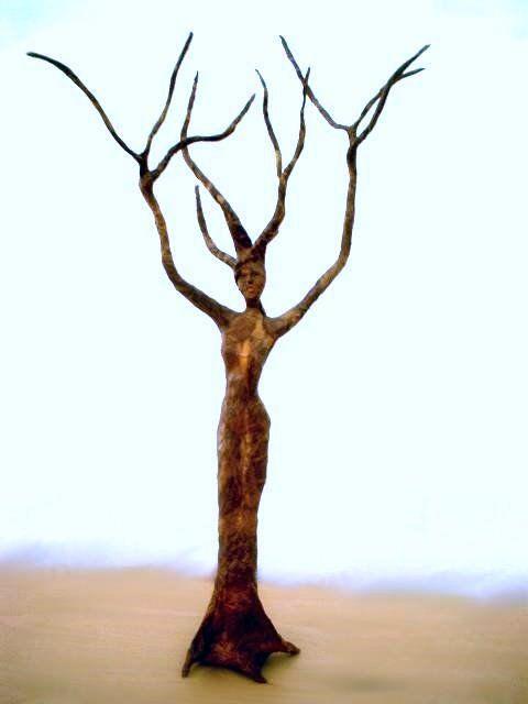 Paper mache tree sculpture