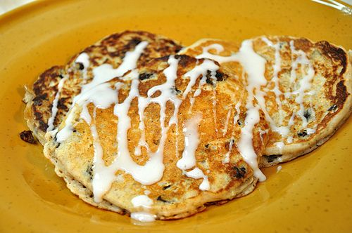 Oatmeal Raisin Pancakes Makes about 8 pancakes. 1 Egg 1 C Flour 3/4 C ...