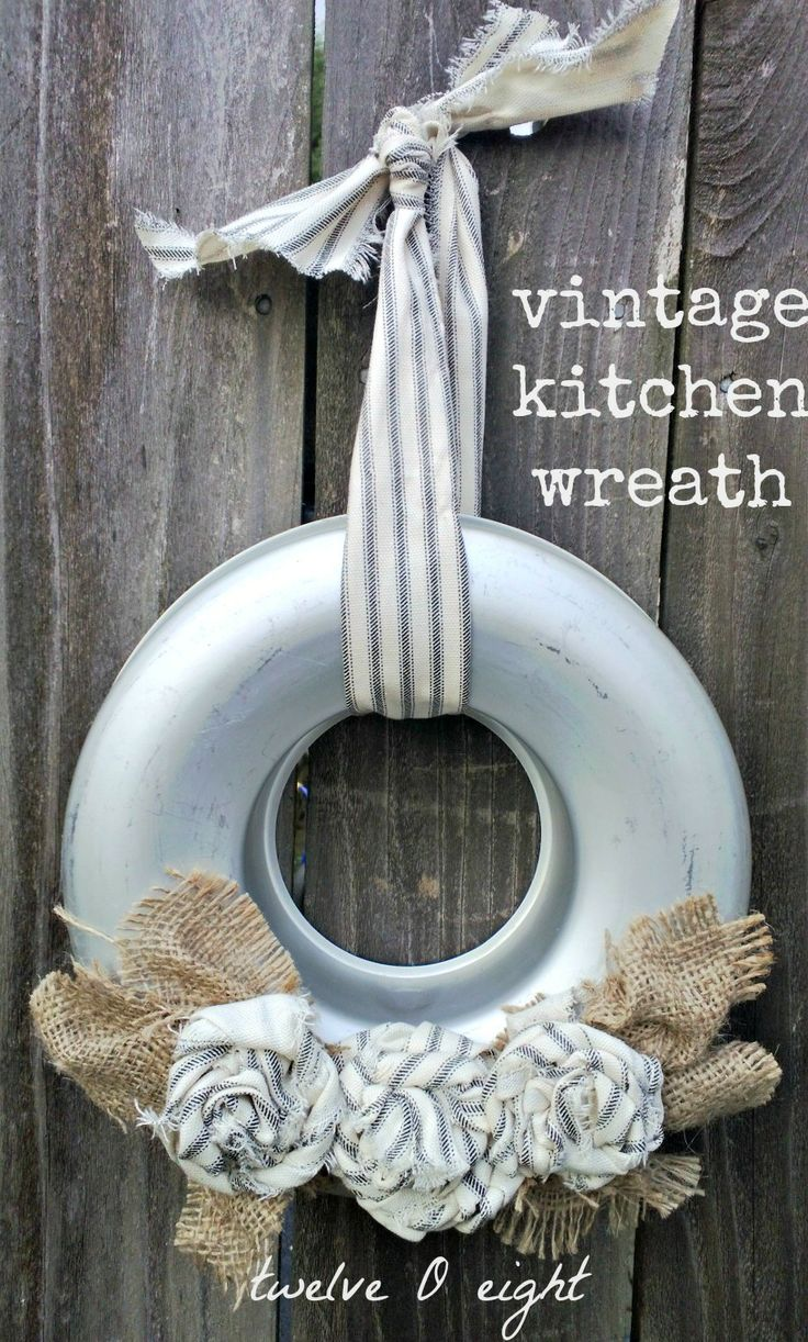 twelveOeight: Vintage Kitchen Wreath. Cute!