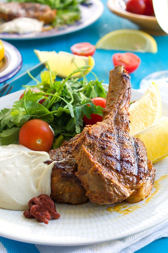 Harissa lamb chops with tahini sauce | savoury and snacks | Pinterest