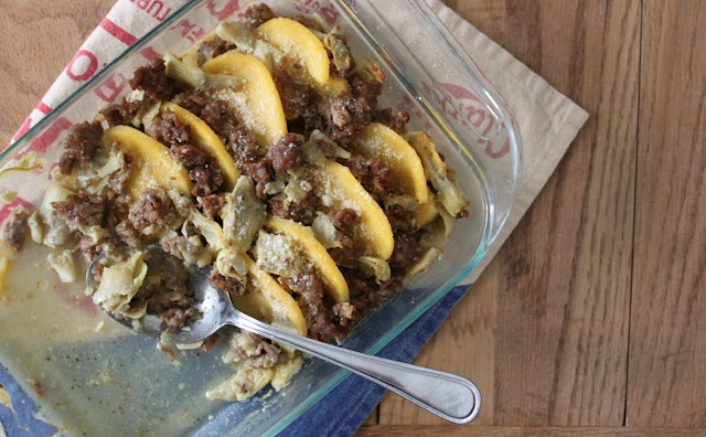 baked sliced polenta with sausage and artichokes #artichoke #recipe