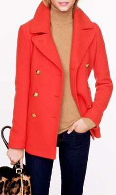 J.Crew Majesty Coral Peacoat ♡