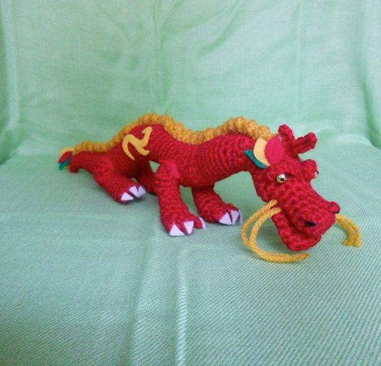 Amigurumi Chinese Dragon : Red Chinese Dragon Crochet Amigurumi