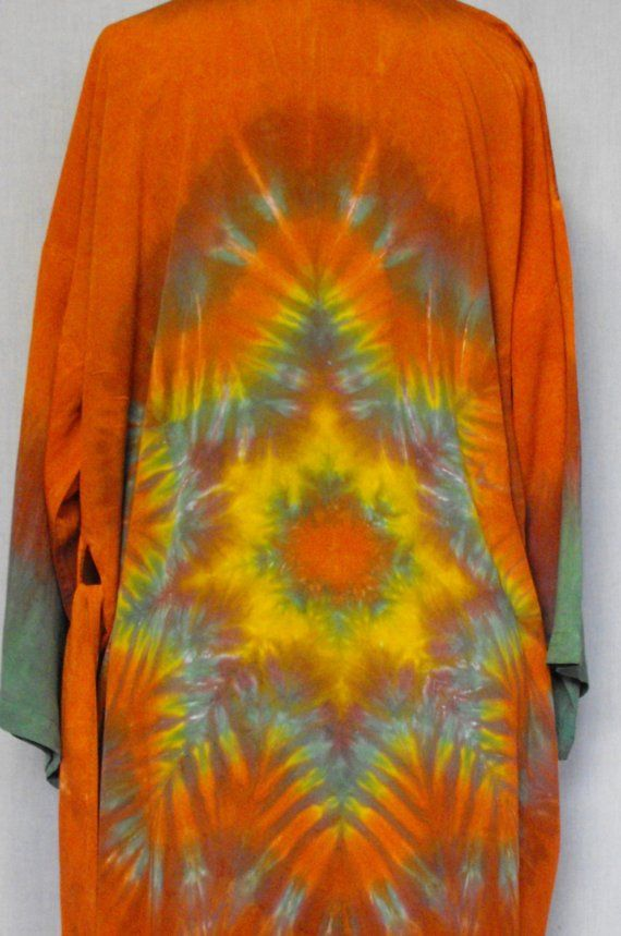 Tie Dye Rayon Robe in Burnt Orange and Sage by inspiringcolor, $48.00