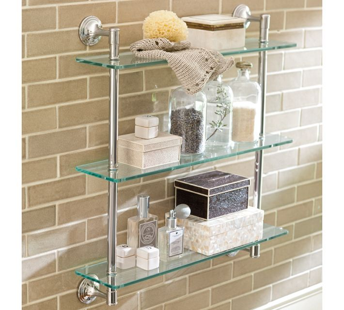 Crave create downsizing the bath bathroom pinterest for Bathroom glass shelves