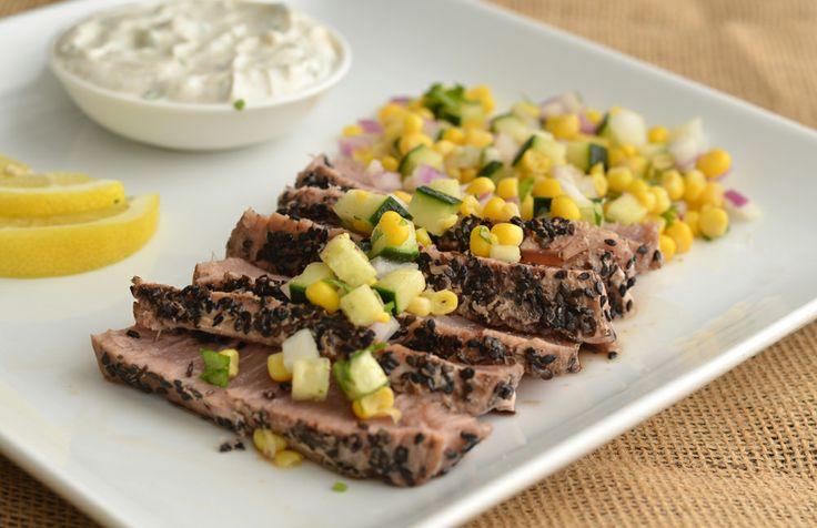 Seared Ahi Tuna with Corn Relish | Recipe